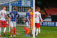 A crowded box and goal during the U17 European Championships match between Scotland and Poland at Firhill Stadium, Maryhill, Scotland on 26 March 2019.