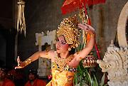 Dancer performing traditional Balinese Legong dance. Sanur, Bali, Indonesia.