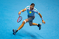 John Isner of the USA in action  during the Nitto ATP World Tour Finals at the O2 Arena, London, United Kingdom on 16 November 2018. Photo by Martin Cole