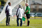 SFC at Trim, April 10th 2016.<br /> Navan O`Mahonys vs Moynalvey<br /> Referee David Coldrick has words with umpires during the Navan O`Mahonys vs Moynalvey game <br /> Photo: David Mullen /www.cyberimages.net / 2016
