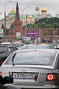 Moscow, Russia, 28/07/2006..Morning commuter traffic jams on the Kremlin Embankment by the Moscow River.