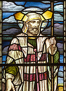 Stained glass window detail church of Saint Mary, Martlesham, Suffolk, England, UK by Heaton, Butler and Bayne early 1900s - Moses