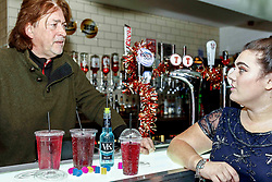 Pictured: Cara Teven alongside Cathouse founder Donald MacLeod behind the bar at The Yard within Strathclyde Student Union to Launch the Girls Against Spiking Campaign<br /> <br /> Colin Poultney | EEm Thursday 6th December 2018