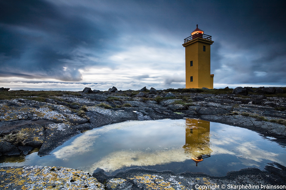 Stafnesviti lighthouse in Reykjanes peninsula, west Iceland