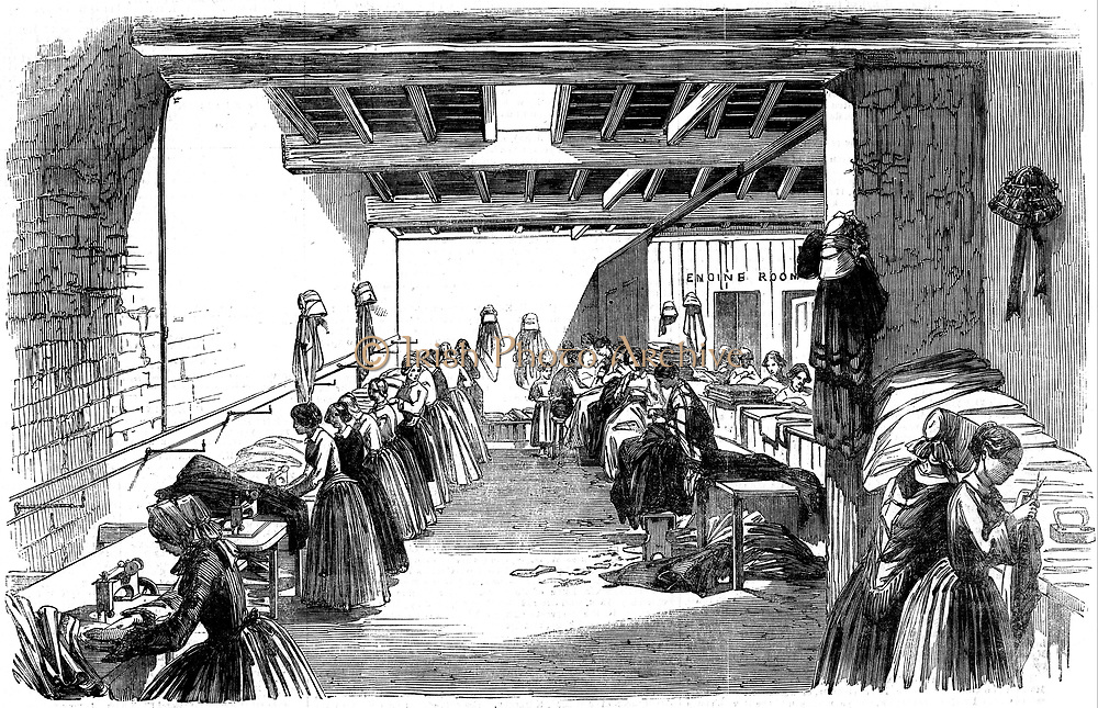 Steam-powered sewing machine designed by C.T. Judkin of Manchester in use at Holloway & Co.'s clothing factory, Stroud, Gloucestershire. Holloways introduced division of labour in their factory.  One pair of trousers passed through 16 pairs of hands, each operative carrying out a specific task. From 'The Illustrated London News', December 1854. Woodcut