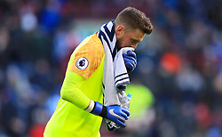 Huddersfield Town goalkeeper Ben Hamer leaves the picth at half time during the Premier League match at the John Smith's Stadium, Huddersfield.