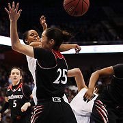 Moriah Jefferson, UConn, challenges for a rebound with Chelsea Jamison, Cincinnati, during the UConn Vs Cincinnati Quarterfinal Basketball game at the American Women's College Basketball Championships 2015 at Mohegan Sun Arena, Uncasville, Connecticut, USA. 7th March 2015. Photo Tim Clayton