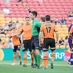 BRISBANE, AUSTRALIA - OCTOBER 30: Jade North of the roar receives a yellow card during the round 4 Hyundai A-League match between the Brisbane Roar and Perth Glory at Suncorp Stadium on October 30, 2016 in Brisbane, Australia. (Photo by Patrick Kearney/Brisbane Roar)
