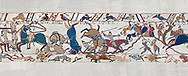 Bayeux Tapestry scene 53b: Norman cavalry attack Saxon soldiers ontop of a hill at the Battle of Hastings.   BYX53b .<br /> <br /> If you prefer you can also buy from our ALAMY PHOTO LIBRARY  Collection visit : https://www.alamy.com/portfolio/paul-williams-funkystock/bayeux-tapestry-medieval-art.html  if you know the scene number you want enter BXY followed bt the scene no into the SEARCH WITHIN GALLERY box  i.e BYX 22 for scene 22)<br /> <br />  Visit our MEDIEVAL ART PHOTO COLLECTIONS for more   photos  to download or buy as prints https://funkystock.photoshelter.com/gallery-collection/Medieval-Middle-Ages-Art-Artefacts-Antiquities-Pictures-Images-of/C0000YpKXiAHnG2k
