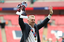 May 27, 2019 - London, England, United Kingdom - Aston Villa Manager Dean Smith applauds the Aston Villa fans after their Play Off final win during the Sky Bet Championship Play Off Final between Aston Villa and Derby County at Wembley Stadium, London on Monday 27th May 2019. (Credit Image: © Mi News/NurPhoto via ZUMA Press)