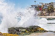 Waves Crashing Over Shore Rocks at Thousand Steps Beach