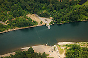 USA, Oregon, aerial view of Wheatland Ferry on the Willamette River.