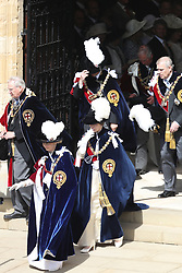 The Princess Royal, the Earl of Wessex, the Duke of York and the Prince of Wales after the annual Order of the Garter Service at St George's Chapel, Windsor Castle.