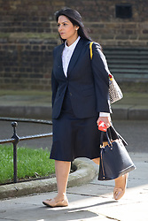 Downing Street, London, May 17th 2016. Employment Minister Priti Patel arrives at the weekly cabinet meeting in Downing Street.