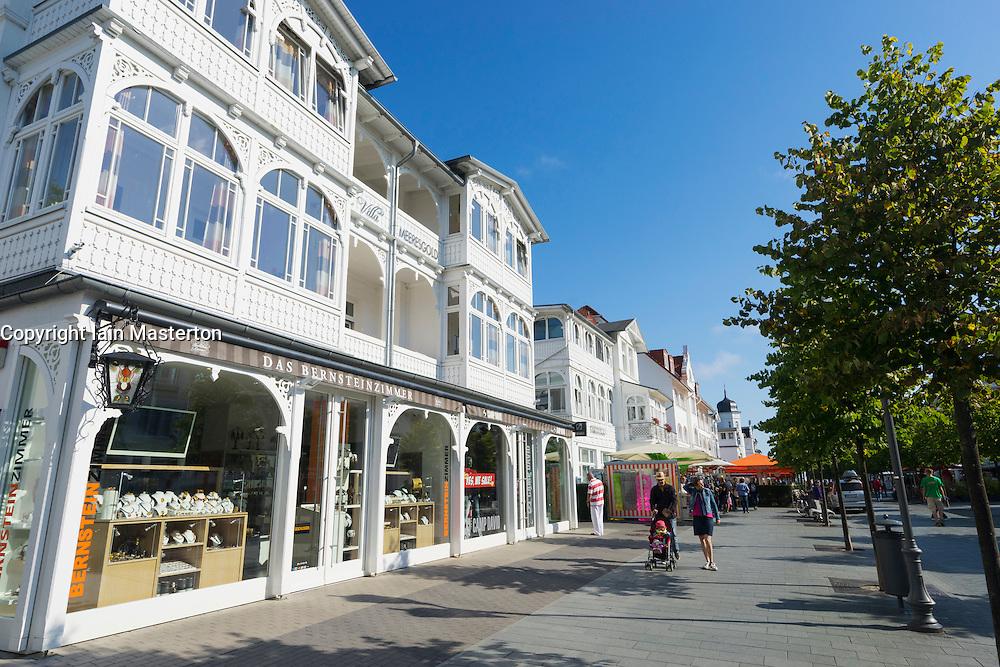 Shops in old traditional villas on street in Binz seaside resort on Rugen Island in Germany
