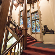 Internal staircase at the Museum of the City of Brussels. The museum is dedicated to the history and folklore of the town of Brussels, its development from its beginnings to today, which it presents through paintings, sculptures, tapistries, engravings, photos and models.