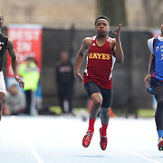Robert Harris, (centre), Cardinal Hayes, winning the Boys 100 Meter Dash during the 2013 NYC Mayor's Cup Outdoor Track and Field Championships at Icahn Stadium, Randall's Island, New York USA.13th April 2013 Photo Tim Clayton