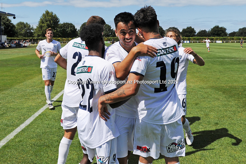 Auckland City FC's Mohamed Awad, Cam Howieson, and Logan Rogerson celebrate a goal in the Handa Premiership football match, Hawke's Bay United v Auckland City FC, Bluewater Stadium, Napier, Sunday, January 31, 2021. Copyright photo: Kerry Marshall / www.photosport.nz