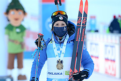 Anais Chevalier-Bouchet of France celebrates at medal ceremony during the IBU World Championships Biathlon Women Pursuit competition on February 14, 2021 in Pokljuka, Slovenia. Photo by Primoz Lovric / Sportida