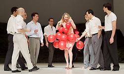Tanztheater Wuppertal Pina Bausch <br /> 'Masurca Fogo' <br /> at Sadler's Wells, London, Great Britain <br /> rehearsals<br /> 8th February 2017 <br /> <br /> Tanztheater Wuppertal Pina Bausch: Masurca Fogo<br /> Julie Shanahan, Daphnis Kokkinos<br /> Masurca Fogo, created by the endlessly inventive Pina Bausch, returns to Sadler's Wells from 9 - 12 February 2017. The piece is performed by the legendary Tanztheater Wuppertal Pina Bausch, a Sadler's Wells International Associate Company.<br /> <br /> <br /> <br /> <br /> Performers:<br /> Regina Advento, Pablo Aran Gimeno, Emma Barrowman, Rainer Behr, Andrey Berezin, Michael Carter, Çağdaş Ermis, Silvia Farias Heredia, Jonathan Fredrickson, Ditta Miranda Jasjfi, Daphnis Kokkinos, Cristiana Morganti, Breanna O'Mara, Nazareth Panadero, Julie Shanahan, Oleg Stepanov, Julian Stierle, Fernando Suels Mendoza, Aida Vainieri, Ophelia Young.<br /> <br /> Photograph by Elliott Franks <br /> Image licensed to Elliott Franks Photography Services
