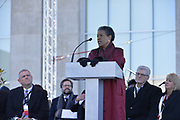 "Photo ©Suzi Altman 12/9/17 Jackson,MS       Myrlie Evers- Williams widow of slain civil rights icon Medgar Evers, left is joined on the podium by Governor William Winters, right, at the opening of the Mississippi Civil Rights Museum. Myrlie Evers dedicated her late husband Medgar Evers archival papers to the MS Department of Archives and History, which helped established the museum.  Evers spoke to the crowd outside after President Trump made private remarks inside to a closed audience of invited guests and press only. <br />  Right before the ribbon cutting ceremony outside on the podium Mrs Evers said "" These museums are priceless, going through the museum of my history I felt the bullets and the fears, but I also felt the hope."" President Trump had a very short private tour of the Civil Rights Museum and did not mingle outside or stop to talk with any visitors to the new Civil Rights  museum. Photo©SuziAltman"