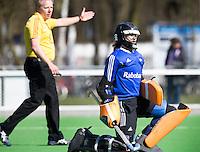 AMSTELVEEN - HOCKEY - Keeper Maartje Cox van Hurley tijdens de hoofdklasse hockeywedstrijd tussen de vrouwen van Hurley en Oranje-Zwart.  COPYRIGHT KOEN SUYK