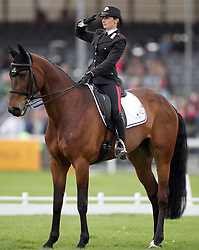 Italy's Arianna Schivo on Quefira de L'Ormeau salutes the judges in the dressage during day three of the 2019 Mitsubishi Motors Badminton Horse Trials at The Badminton Estate, Gloucestershire.