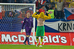 TEPLICE, CZECH REPUBLIC - SATURDAY, SEPTEMBER 2nd , 2006: Wales' James Collins looks dejected after the Czech Republic's late winner during the opening UEFA Euro 2008 Group D qualifying match at the Na Stinadlech Stadium. (Pic by David Rawcliffe/Propaganda)