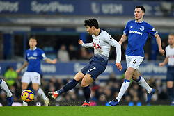 December 23, 2018 - Liverpool, Liverpool, United Kingdom - Tottenham Hotspur's Son Heung-min scores his side's fifth goal of the game during the Premier League match at Goodison Park, Liverpool, UK.  Everton v Tottenham Hotspur - Premier League - Goodison Park. Goodison Park. (Credit Image: © Anthony Devlin/i-Images via ZUMA Press)