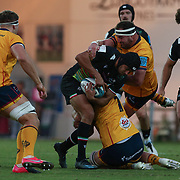 Parma, 02/10/2021 Stadio Lanfranchi<br /> URC United Rugby Championship 2021<br /> Zebre Rugby vs Ulster  <br /> Gabriele Di Giulio placcato da Nick Timoney
