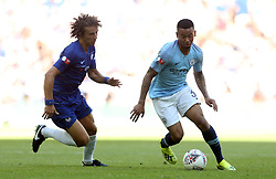 Manchester City'€™s Gabriel Jesus and Chelsea's David Luiz in action