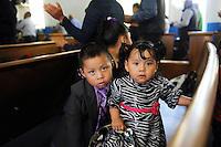 Children in their Easter Sunday best at Fuente de Vida Church in east Salinas.