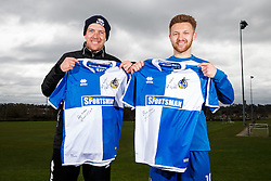 Sky Bet Football League 2 Player of the Month Matty Taylor and Manager of the Month Darrell Clarke, both of Bristol Rovers, pose with signed shirts - Mandatory byline: Rogan Thomson/JMP - 07/04/2016 - FOOTBALL - The Lawns Training Ground - Bristol, England - Sky Bet Football League Awards.