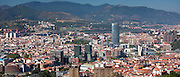 Aerial view of Bilbao Guggenheim Museum, Iberdrola Tower skyscraper and Red Bridge in Basque country, Spain RESERVED USE