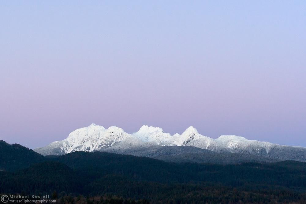 Alpenglow over  Mount Blanshard from Pitt Meadows, British Columbia, Canada