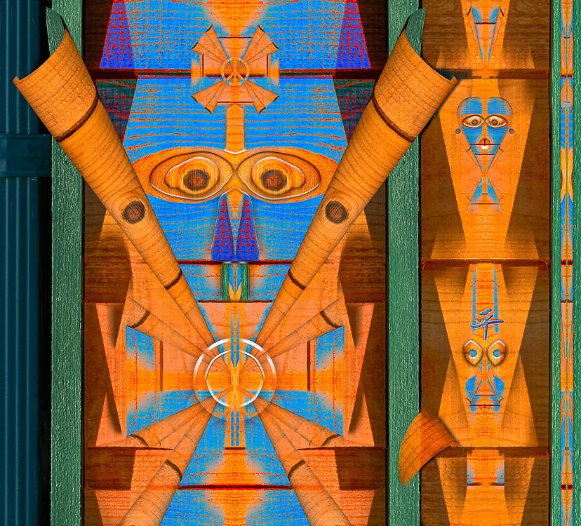 """Totem Wannabe Mask"", derivative image, abstract of cedar house siding, January, Clallam County, Olympic Peninsula, Washington, USA"