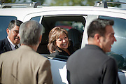 ALBUQUERQUE, NM - OCTOBER, 13: Republican gubernatorial candidate Susana Martinez speaks to aides and supporters from the window of an SUV outside her campaign headquarters on her way to raise funds on October 13, 2010 in Albuquerque New Mexico. (Photo by Steven St. John/For The Washington Post)