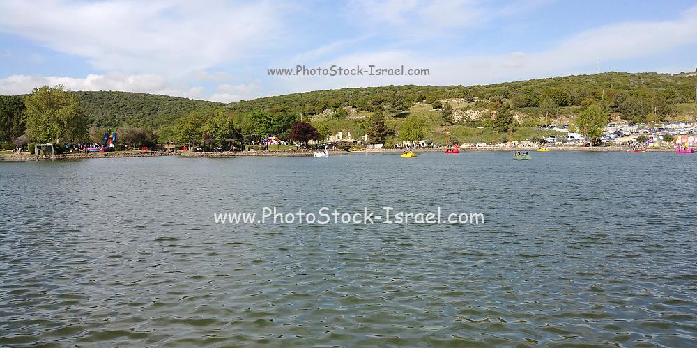 Vacationers at the man-made Montfort lake near Ma'alot-Tarshiha, Upper Galilee, Israel