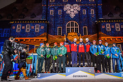 March 16, 2019 - –Stersund, Sweden - 190316 Erik Lesser, Roman Rees, Arnd Peiffer and Benedikt Doll of Germany, Johannes Thingnes Bø, Vetle SjÃ¥stad Christiansen, Tarjei Bø and Johannes Thingnes Bø of Norway, Matvey Eliseev, Nikita Porshnev, Dmitry Malyshko and Alexander Loginov of Russia celebrate during the medal ceremony for the Men's 4x7,5 km Relay during the IBU World Championships Biathlon on March 16, 2019 in Östersund..Photo: Petter Arvidson / BILDBYRÃ…N / kod PA / 92270 (Credit Image: © Petter Arvidson/Bildbyran via ZUMA Press)