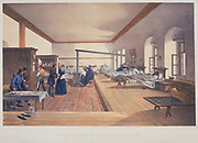 Florence Nightingale (1820-1910) English nursing pioneer and hospital reformer inspecting wards of the military hospital at Scutari during the Crimean War (1853-1856). Patients able to leave bed cluster round a box stove. After lithograph from Simpson 'Illustrations of the War in the East', London, 1856