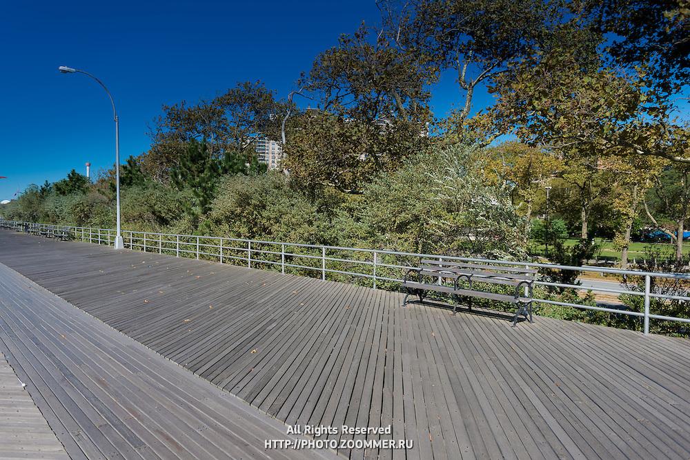 Empty Coney island boardwalk, Brooklyn