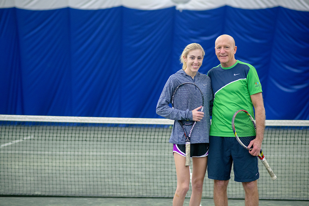 Bethesda, Maryland - March 10, 2018: Steve Heitzner and his daughter Kendall Heitzner, 24, at the Bethesda Country Club in Bethesda, Md., Saturday March 10, 2018.<br /> <br /> Steve Heitzner, Marriott's Chief Sales and Marketing Officer for the Americas, is a former NCAA Division 1 tennis player. He and his daughter Kendall have played in the Father/Daughter Open division and were ranked #2 in the country a few years ago.<br /> <br /> CREDIT: Matt Roth for The Wall Street Journal