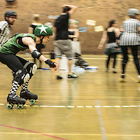 Manchester Roller Derby's Checkerbroads take on Lincolnshire Bombers Roller Girls at George H Carnall Sports Centre, Manchester, 2014-05-31
