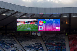 Scoreboard making bold prediction during the Betfred Cup semi final match at Hampden Park, Glasgow. PRESS ASSOCIATION Photo. Picture date: Sunday October 28, 2018. See PA story SOCCER Aberdeen. Photo credit should read: Jeff Holmes/PA Wire. EDITORIAL USE ONLY