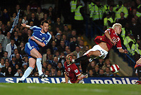 Photo: Tony Oudot.<br /> Chelsea v Manchester United. The Barclays Premiership. 09/05/2007.<br /> John Terry of Chelsea gets a shot in from a diving Alan Smith of Man Utd