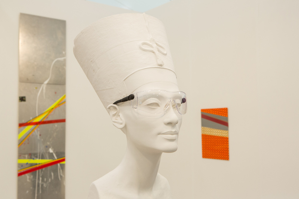 "New York, NY - 6 May 2016. Frieze New York art fair. Isa Genzken's plaster bust with glasses ""Nefertiti sculpture"" in the David Zwirner Gallery."