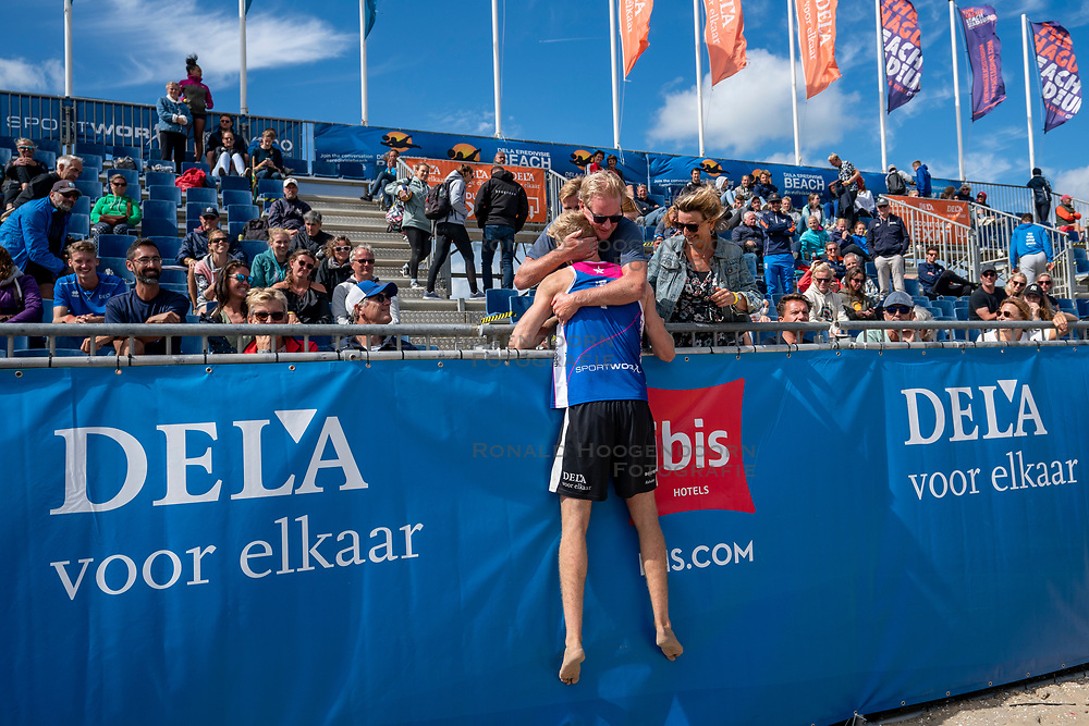Jasper Bouter win the finale and celebrate. The Final Day of the DELA NK Beach volleyball for men and women will be played in The Hague Beach Stadium on the beach of Scheveningen on 23 July 2020 in Zaandam.