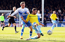 Peterborough United's Jon Taylor in action with Coventry City's Grant Ward - Photo mandatory by-line: Joe Dent/JMP - Mobile: 07966 386802 - 28/03/2015 - SPORT - Football - Peterborough - ABAX Stadium - Peterborough United v Coventry City - Sky Bet League One