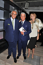 Left to right, SIR DAVID TANG, NICKY HASLAM and SANDY FORSYTH at a party to celebrate the publication of her  autobiography - The World According to Joan, held at the British Film Institute, South Bank, London SE1 on 8th September 2011.