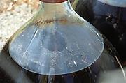 Banyuls wine aging in demijohn outside. Domaine Les Clos de Paulilles. banyuls Roussillon. France. Europe. Bottle.